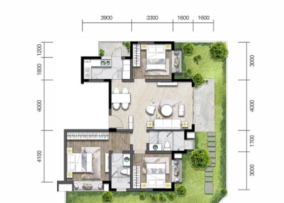 洋房E1':建面103㎡,庭院73㎡