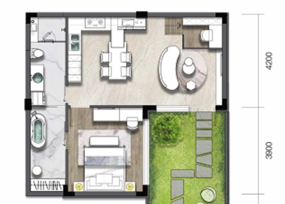 叠墅B1:建面53㎡,庭院30㎡