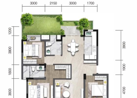 洋房E4':建面117㎡,庭院52㎡