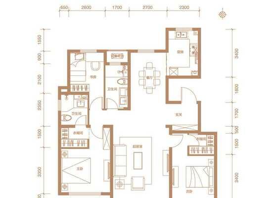 洋房标准层130平米C1户型