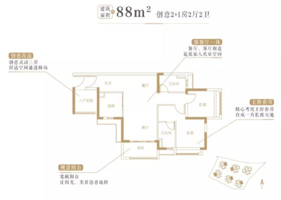 88平2+1房户型图