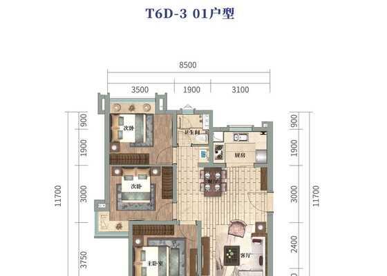 云海泽月洋房T6D-3  01户型图