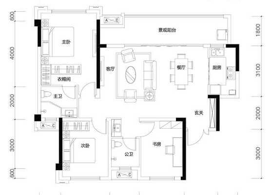 洋房A1户型