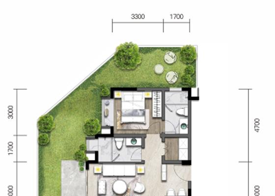 洋房C:建面86㎡,庭院53㎡