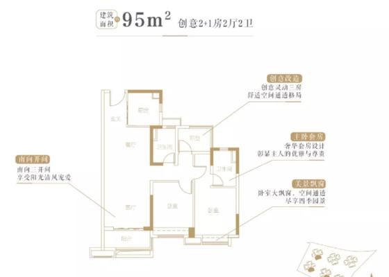 95平2+1房户型图