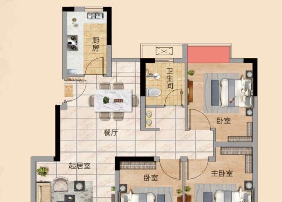 建面约95.6㎡ 三房两厅一卫