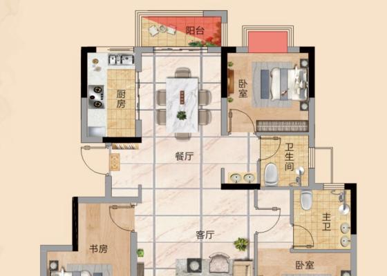建面约108.7㎡ 三房两厅两卫