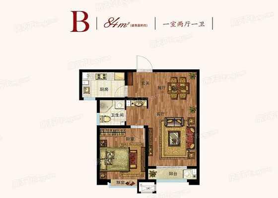 高层标准层84㎡一室户型