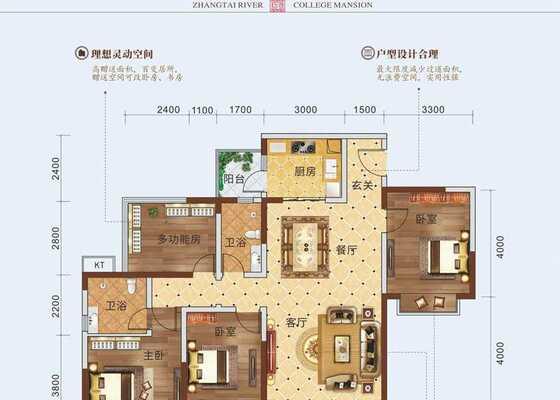 C户型(3+1房2厅2卫)