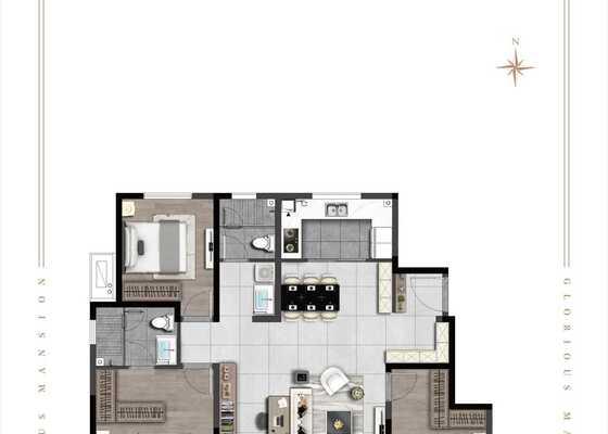 128㎡三室两厅两卫