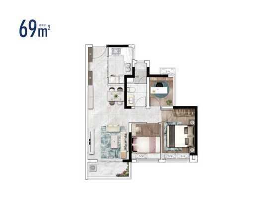 2栋建面69㎡两房户型