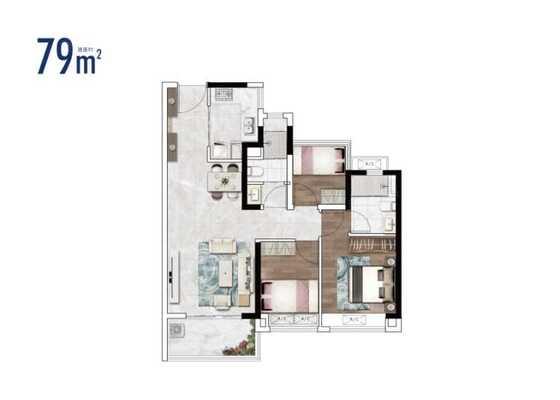 2栋建面79㎡三房户型