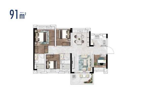 2栋建面91㎡三房户型