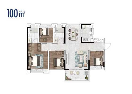 2栋建面100㎡三房户型