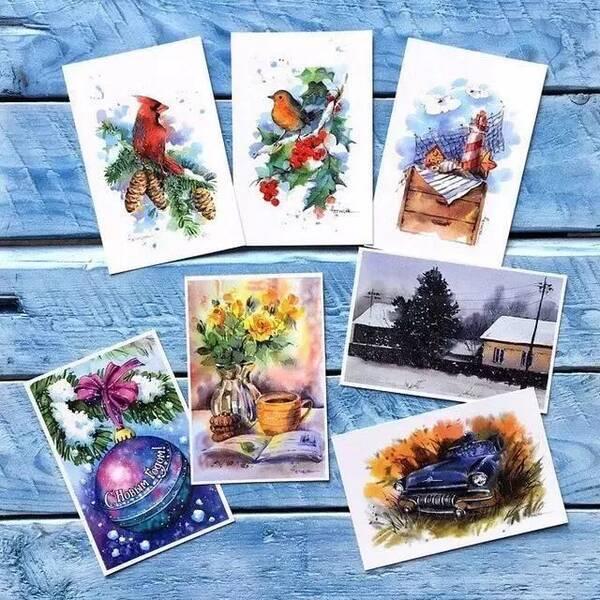 用水彩手绘来绘制贺卡封面,色彩和画面感都好棒,水彩