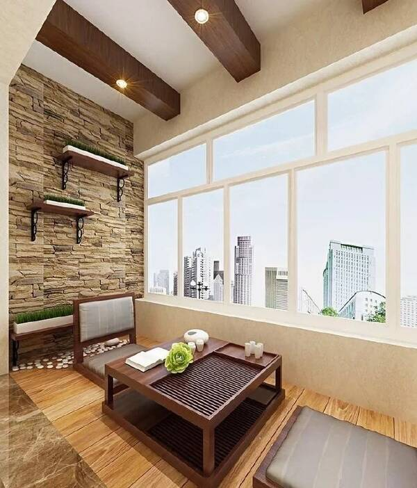 1,把阳台装修得很有特色,变成一个小茶室,客人来时可以找带客人,平时