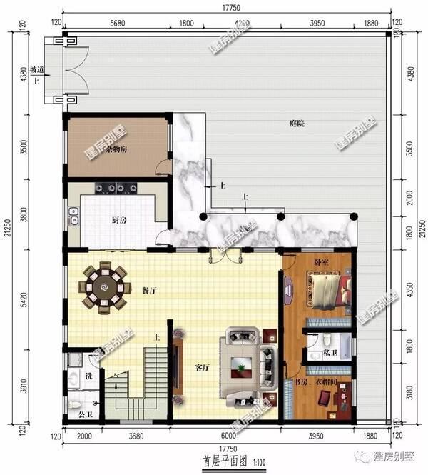 二层平面图:两室一厅两卫,一间书房和一个凉亭,一走廊阳台.