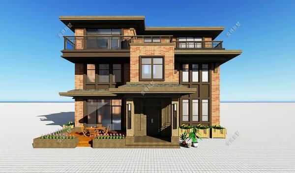 自建一款3层中式别墅,很适合自建房的设计,卧室超多
