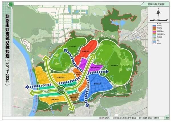 规划结构 沙塘镇城市空间结构规划以北部生态湿地公园为发展绿核