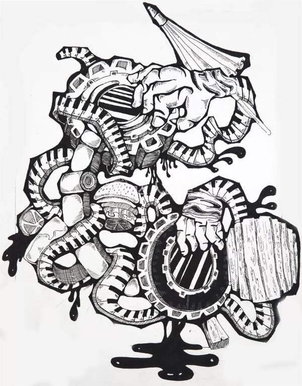 创意设计汉堡黑白画