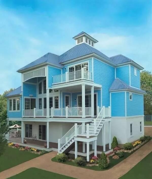 农村自建美式风格轻钢别墅设计图含平面图
