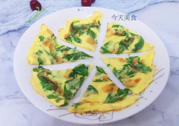 7,芹菜叶鸡蛋饼有着特殊的清香味,而且营养价值非常高,黄绿的搭配,看