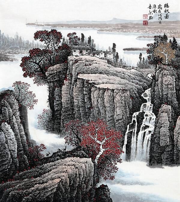 许吉尔最新斗方山水画《畅秋图》图片