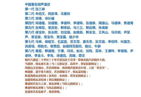 最后附图,中国著名相声演员辈分表.