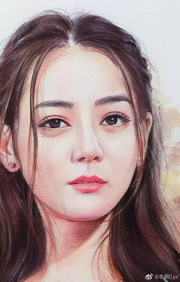 这技法不错,她用水溶彩铅画明星,迪丽热巴,蔡徐坤