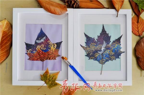 有创意!青岛小学生把树叶变成了艺术品