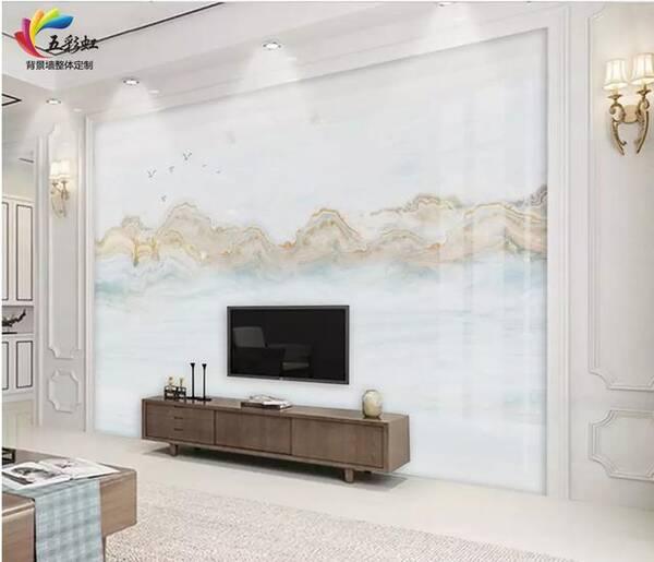 1,新中式风格微晶石搭配石材护墙板电视背景墙效果图图片