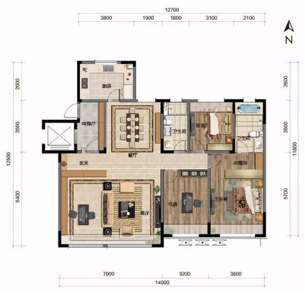 b,二期洋房,147平方米,三室两厅两卫
