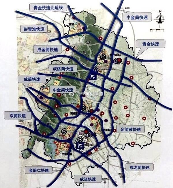 成都东进 快速路规划11条,高速公路8条,快速路主线消灭红绿灯