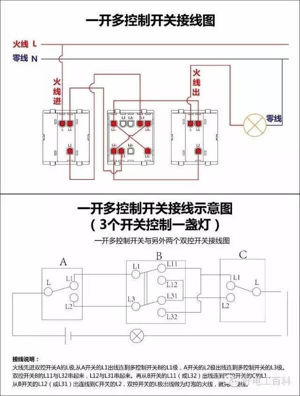 电工必备|最全的开关接线图(单控,双控,三控),值得