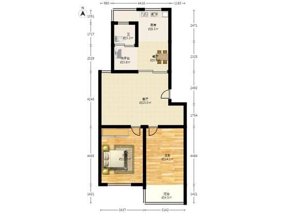 两房一厅一楼设计图