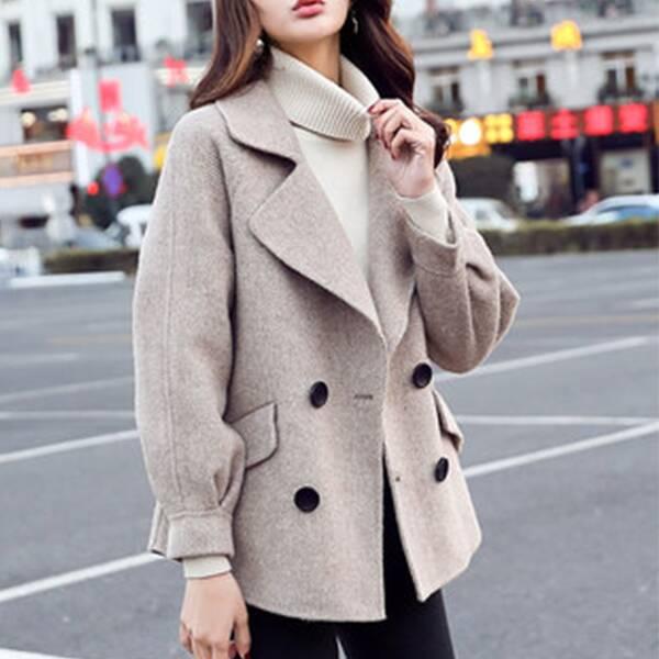 小外套短款新款韩版小个子休闲呢子大衣  韩版的短款呢大衣,洋气又图片