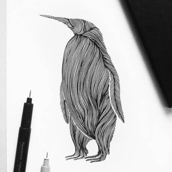上面的动物手绘比较难 下面这种动物手绘都是由线描组成 非常的锻炼线