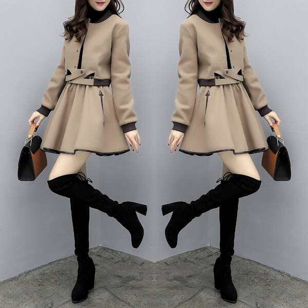 时尚套装_秋冬两件套裙  时尚套装中长款两件套连衣裙,采用优质的针织面料,上身
