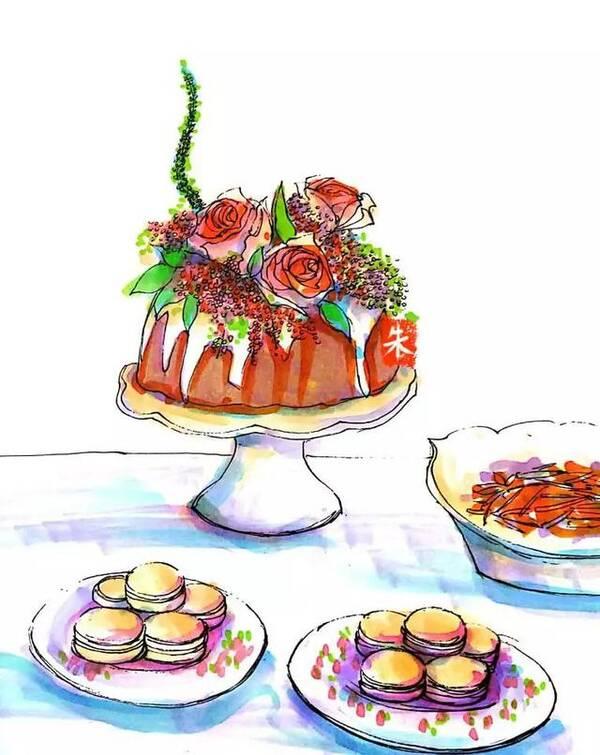 画出让你想吃到嘴里的甜品蛋糕图片