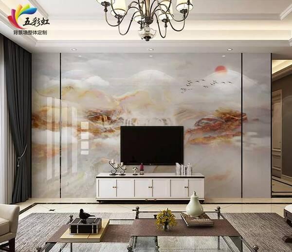 新中式电视背景墙效果图,传统元素与现代金属的强烈