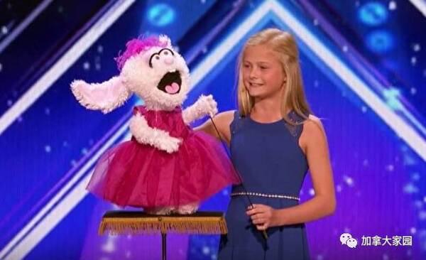 这也太神了吧 美国达人秀 ,12岁小女孩腹语惊人 评委直接按下 黄金按