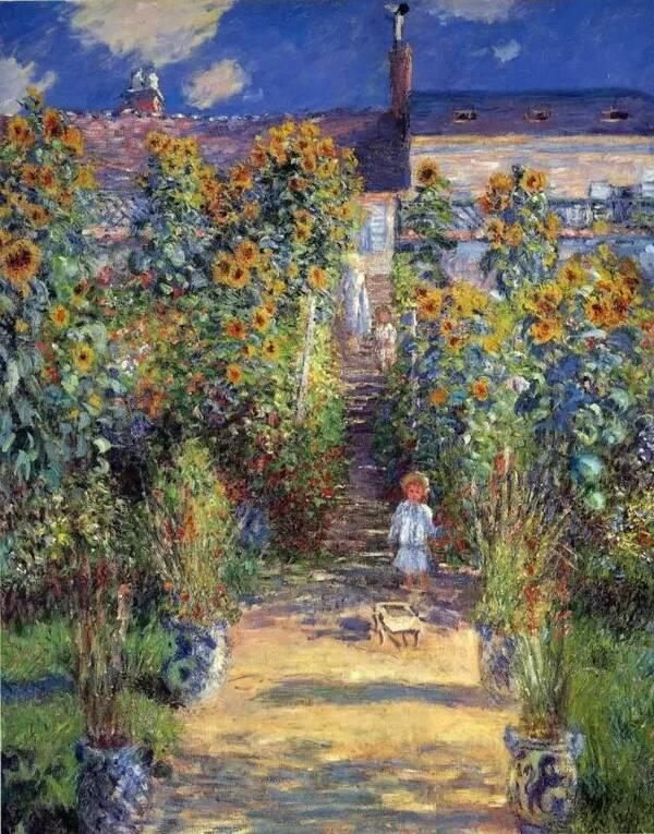 莫奈的印象派风景画,以户外自然光线下的色彩变化为其主要追求效果