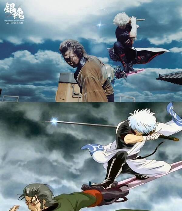 《银魂》真人版和TV动画版截图