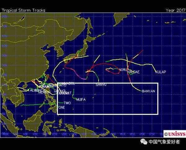 2017年1月1日-9月7日台风路径合成图,方框代表西北太平洋出产最多