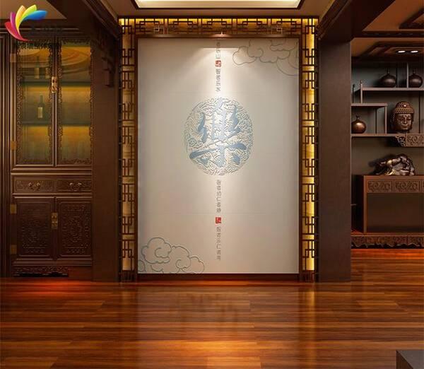 4,瓷砖浮雕玄关新中式风格背景墙装修效果图图片