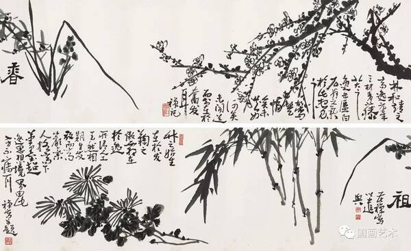 现当代名家:李苦禅笔下的梅兰竹菊图片