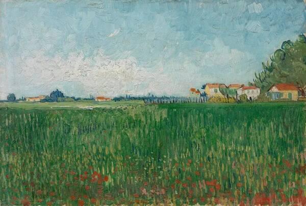 他画了阿尔青翠的乡间风景,云卷云舒,娇妍的花朵在画的前景摇曳,五彩