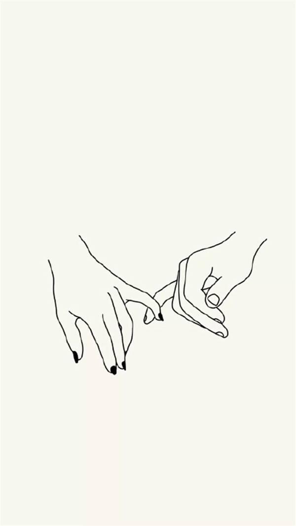 手机壁纸,情侣牵手插画图片