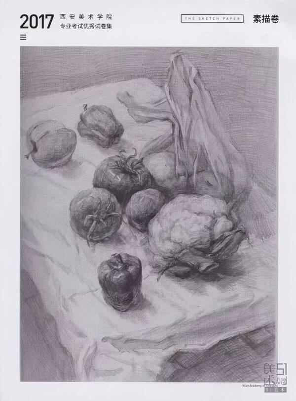 素描考题:素描静物写生,两个菜椒,一个剥开的橘子,一个圆白菜,三个