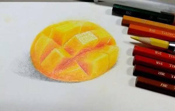 彩铅教程 | 零基础来一枚水嫩的芒果肉!